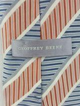 Geoffrey Beene Tie Silk Striped Orange White Blue Necktie image 3