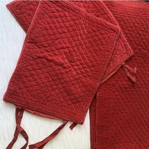 Pottery Barn Holiday Red Beautiful Velveteen Diamond Quilt & Shams Sz Queen - $102.96