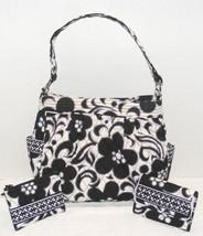VERA BRADLEY GRAND TRAVELER BLACK & WHITE SHOULDER BAG W/WALLET & MAKE-U... - $69.99