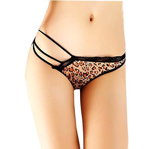 Sexy Panties Hipster G-String Panties Lace Sheer Thong Lingerie Brown Leopard M