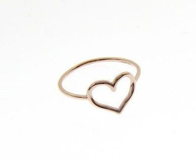 18K ROSE GOLD HEART LOVE RING SMOOTH, BRIGHT, LUMINOUS, BAND, MADE IN ITALY