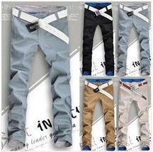 2018 Hot Sell Men's Casual Pants Without Belt (Blue-Gray/Khaki/Black/Arm... - $48.96