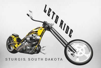 Motorcycle Shirt Lets Ride Sturgis Chopper Harley Bike Themed Mens White T Shirt