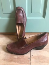New Sofft Women's Wedge Heels Loafers Brown Leather Slip On Size 9M - $34.64