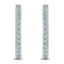1/2Carat TW Round Cut D/VVS1 Diamond Hoop Earrings In 14K White Gold Plated - $114.99