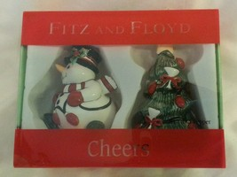 Fitz And Floyd Cheers Snowman & Christmas Tree Salt And Pepper Shakers - $12.46