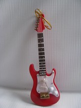 Red Electric GUITAR Musical Instrument Ornament  Realistic Metal Stringed - $11.83