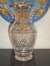 """Waterford Crystal Vintage Glandore Ruffled Vase With Laurel And Crisscross 9"""" - $99.00"""