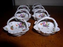 8 Japanese Flower Design w/Gold Trim Salt or Condiment Porcelain Basket ... - $44.95