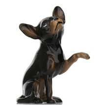 Hagen Renaker Dog Chihuahua Sitting Black and Tan Ceramic Figurine image 3