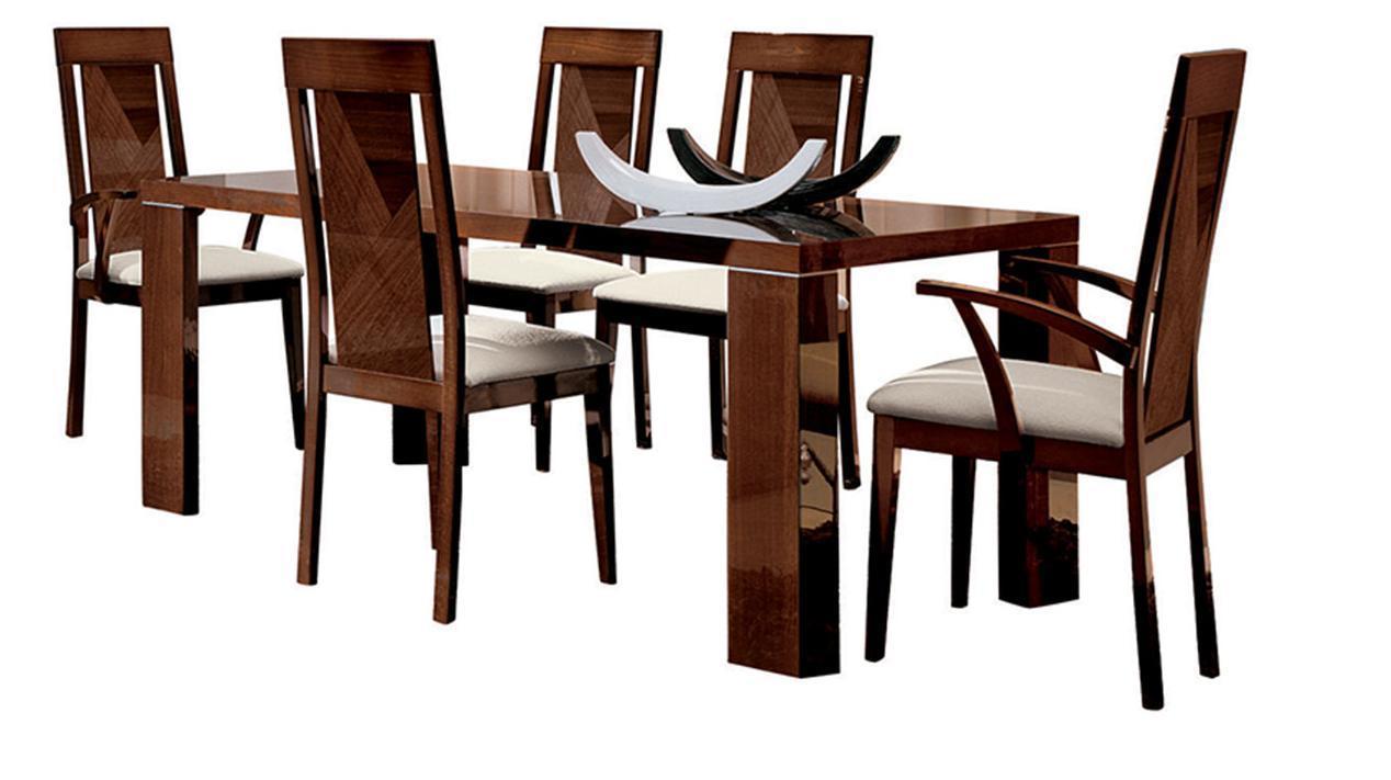 Esf Alf Capri High Gloss Dark Walnut Dining Room Set 8 Pcs
