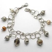 Bracelet en Argent 925 Rhodié Avec Quartz Affumicarto Et Perles De D'Eau Douce image 1