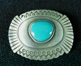 "Western Silver Pewter Turquoise Country Cowboy Bolo Tie Clip 2"" - $24.99"