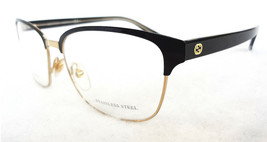 GUCCI Frame Glasses GG4272 2CK 140 STAINLESS STEEL Black/Gold MADE IN IT... - $199.95