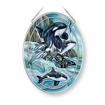 "Orca Killer Whales Sun Catcher AMIA 7""x5"" New Hand Painted Glass Breath ... - €25,24 EUR"