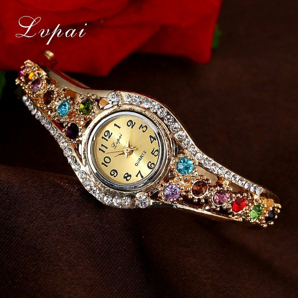 Lvpai® Luxury Watch Women Gold Flower Casual Quartz Crystal Dress Vintage Wrist