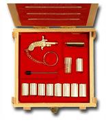 GOLD Key Ring BERLOQUE pinfire gun flintlock caps pistol Complete Set WO... - $170.00