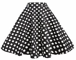 BI.TENCON Women 1950s Black White Polka Dot Circle Swing Vintage Skirt P... - $24.34