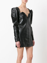 Sweetheart Puffed long Sleeve Genuine Leather Lambskin Cocktail Party Dr... - $185.00