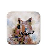 Rubber coasters set of 4, Fox 1 wild animal digital art by L.Dumas - $11.99