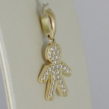 18K YELLOW GOLD BOY CHARM PENDANT SMOOTH LUMINOUS BRIGHT ZIRCONIA MADE IN ITALY image 2