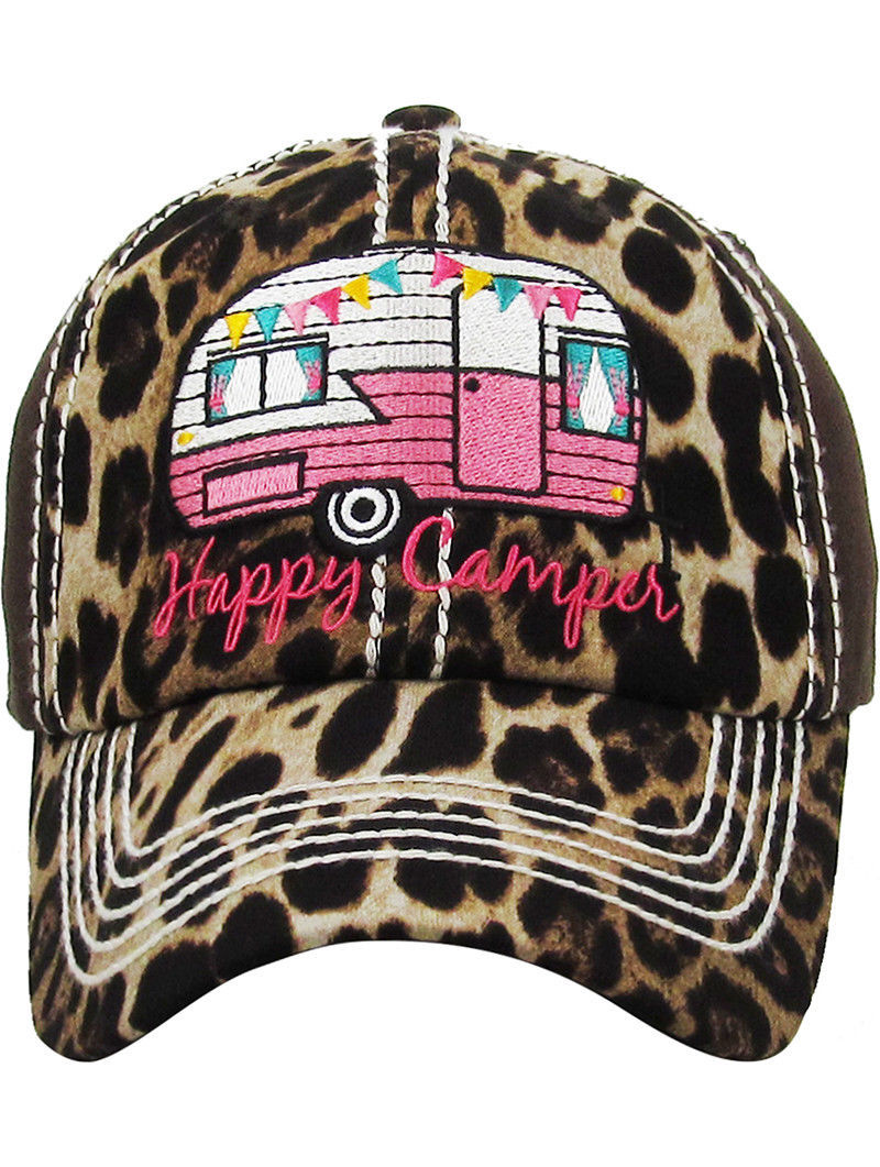 Distressed Vintage Style Leopard Print Happy Camper Hat Baseball Cap Runner