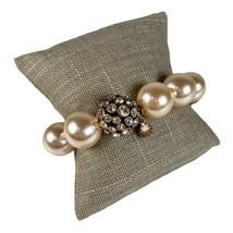 J Crew Chunky Ivory Faux Pearl and Rhinestone Stretch Bracelet - $24.74