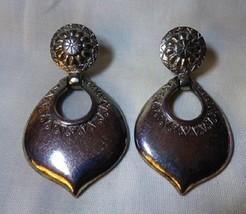 """Moorish Silverplate Carol Dauplaise Clip EARRINGS 2 5/8"""" Long Dangle Doo... - $30.00"""