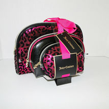 Juicy Couture Leopard Pink & Black Cosmetic Travel Case Set image 10