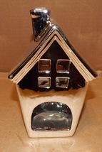 """Christmas Chrome Ceramic Santa House Centerpiece 7"""" x 4 1/2"""" 152B - $7.49"""
