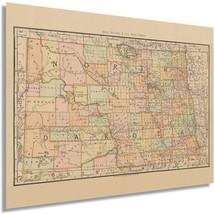 1892 North Dakota State Map - Vintage Map of North Dakota Wall Art - Old Histori - $34.99+