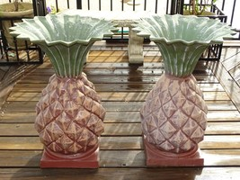 Set of 2 Cast Aluminum Pineapple Urn Planter Flower Pots Outdoor Large 2... - €215,77 EUR