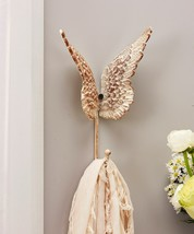 Butterfly Wings Cast Iron Single Wall Hook Distressed White & Textured Detailing