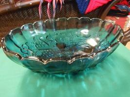 Blue/Purple CARNIVAL Glass Centerpiece Harvest Fruit BOWL....GRAPES Design - $21.78