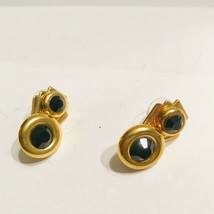 M Collection Swarovski Components Goldtone Black Stone Post Earrings J0773 - $9.49