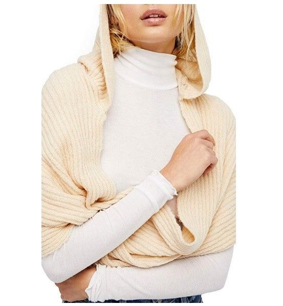 Primary image for Free People Women's Bottom Line Hooded Rib Cowl Neck Wrap, Taupe NWT