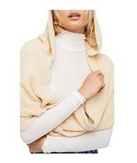 Free People Women's Bottom Line Hooded Rib Cowl Neck Wrap, Taupe NWT - $25.40