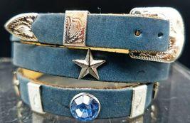 Hatband Blue Crystals And Silver Star + Rectangle Conchos Dallas Cowboy Hat Band - $26.06