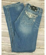 Womens Miss Me Signature Boot Cut Distressed Jeans W/ Statement Pockets ... - $58.04