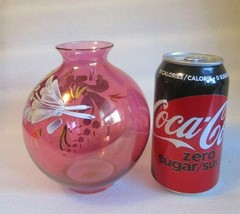 VTG MCM Rainbow Glass Co Cranberry HAND PAINTED White ROSES  Original St... - $21.73