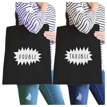 Double Trouble BFF Matching Black Canvas Bags - $30.99