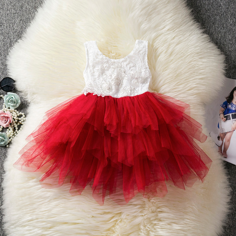 Cute Red Tulle Short Flower Giirl Dress Lace Corset Pricess Party Formal Gowns