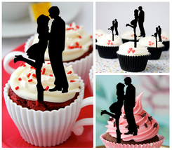 Wedding,Birthday Cupcake topper,silhouette kissing happy couple : 10 pcs - $10.00