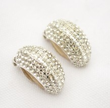 Vintage signed JARIN pave crystal rhinestone earrings clear half-hoop co... - $35.63