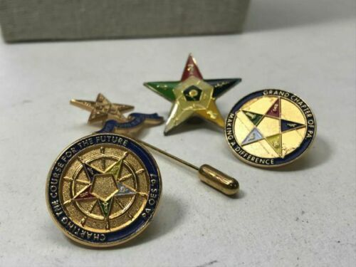 Lot Four Vintage Masonic Order of the Eastern Star Pin Pennsylvania Gold Tone