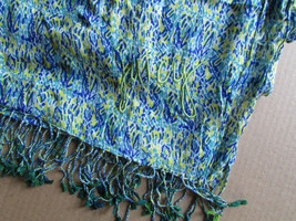 Juicy Couture Scarf Soft Tassel Geometric Blue Splash $78 - $37.62