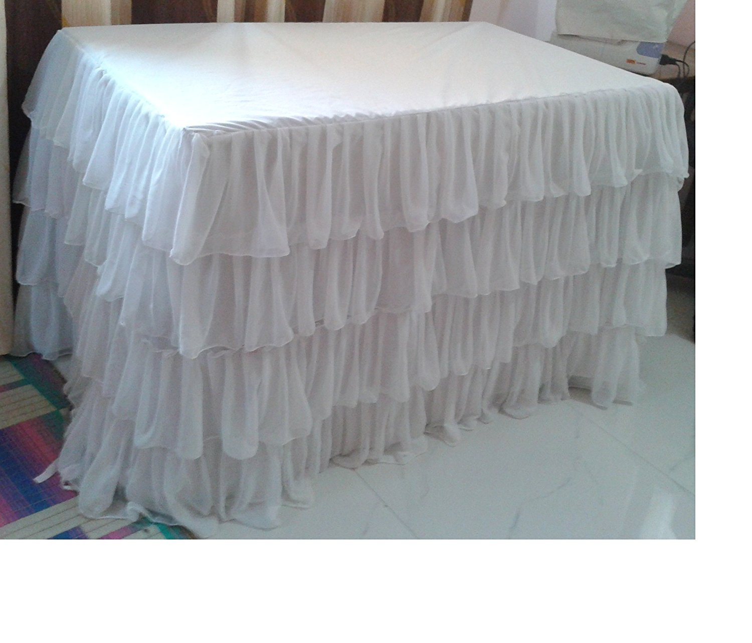 WHITE Layered Table Skirt Cotton Chiffon - Ruffle Layered Complete Table Cover