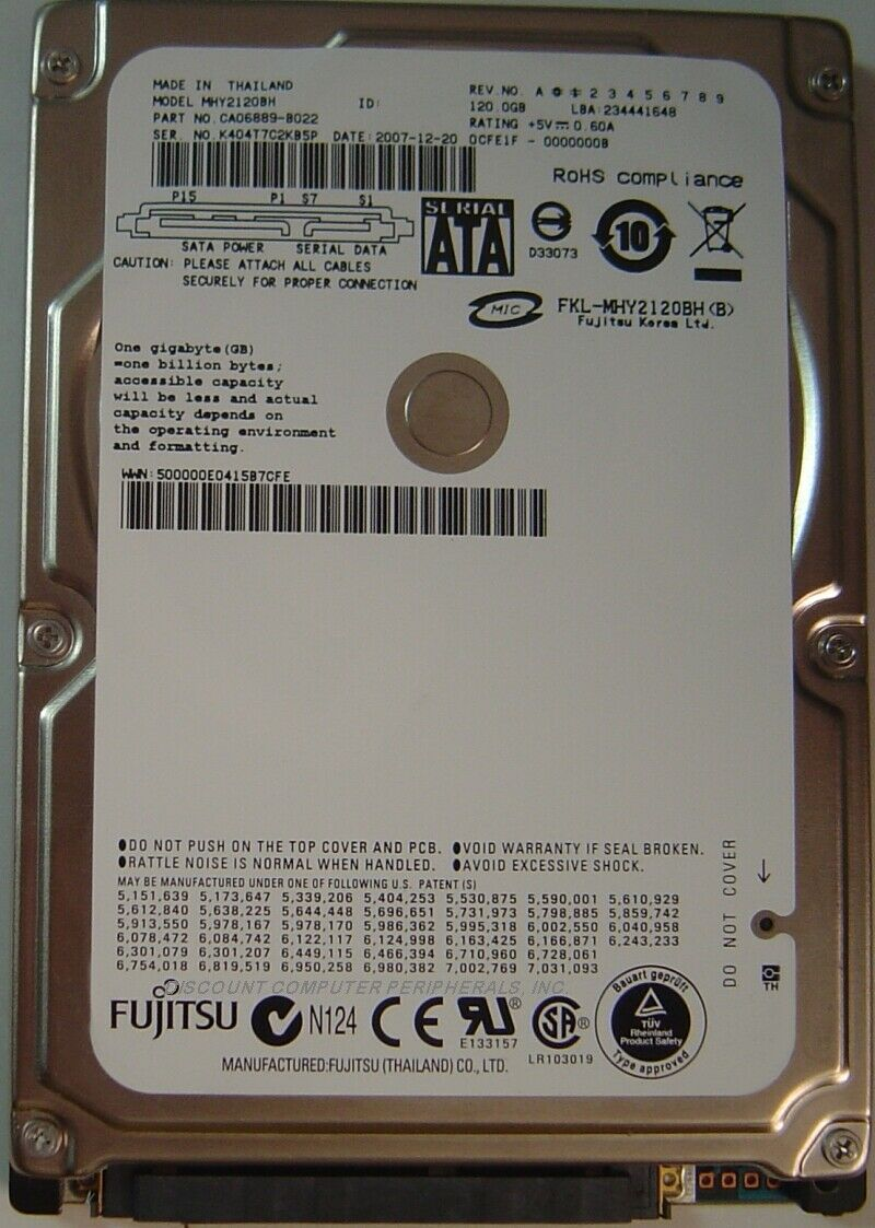 NEW Fujitsu - MHY2120BH 120GB SATA 2.5in 9.5MM Hard Drive Free USA Shipping
