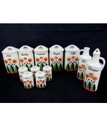 Vintage Ceramic Kitchen Canister, Cruet, Spice Jar Set of 12 Made in Ge... - £72.06 GBP