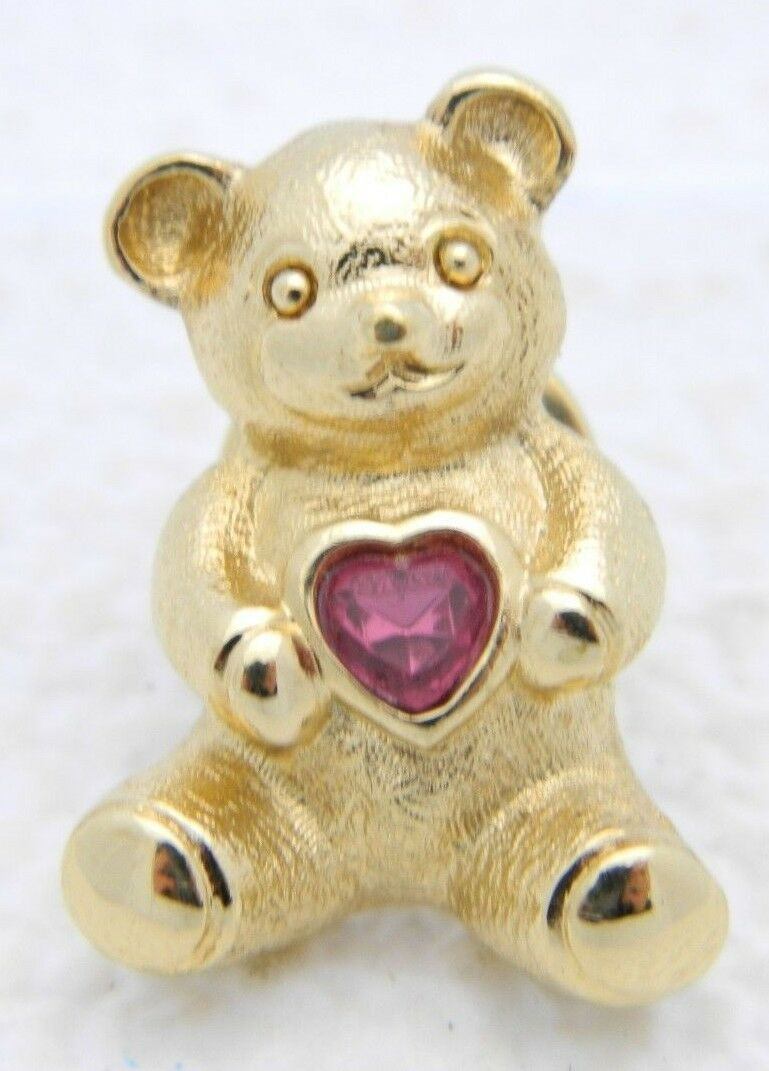 VTG Gold Tone AVON Pink Tourmaline Heart Birthstone Bear Pin Brooch